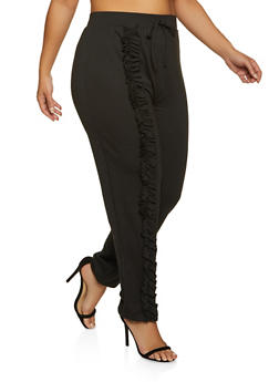 Plus Size Ruffled Detail Joggers - 1850062125121