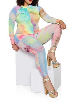 Plus Size Tie Dye Zip Mesh Top - 1850062125386
