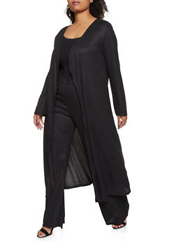 Plus Size Long Sleeve Ribbed Duster - 1850062126000