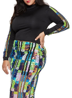 Plus Size Sequin Mesh Detail Sleeve Top - 1850062127838