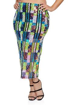Plus Size Sequin Mesh Pencil Skirt - 1850062127839