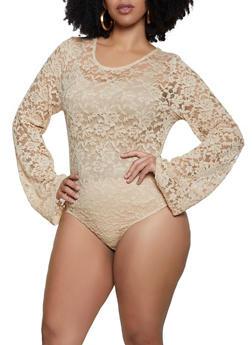 Plus Size Keyhole Back Lace Bodysuit - 1850062129260
