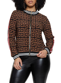 Plus Size Geometric Print Track Jacket - 1850062129440