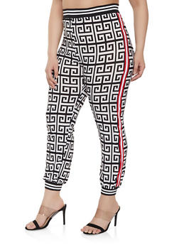 f375dbf04d9 Plus Size Tape Trim Geometric Print Joggers - 1850062129441
