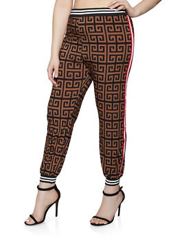 Plus Size Tape Trim Geometric Print Joggers - 1850062129441