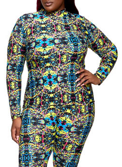 Plus Size Printed Mock Neck Top - 1850062704441