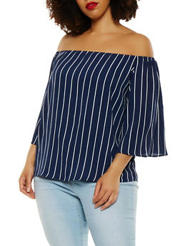Plus Size Striped Off the Shoulder Top - 1850062708015