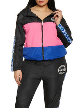 Plus Size Love Color Block Zip Windbreaker - 1850063400004