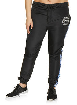 Plus Size Love Tape Windbreaker Joggers - 1850063400005