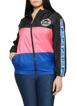 Plus Size Love Graphic Hooded Windbreaker - 1850063400006