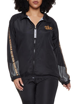 Plus Size Boss Queen Trim Track Jacket - 1850063400065