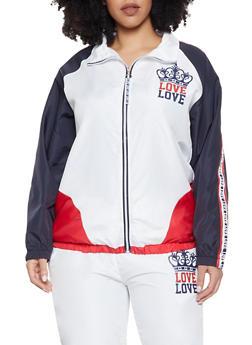 Plus Size Love Color Block Windbreaker Jacket - 1850063400562
