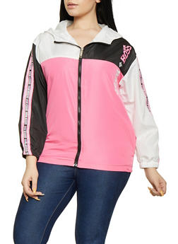 Plus Size Queen Boss Color Block Windbreaker Jacket - 1850063400568
