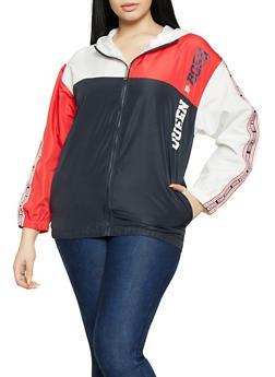 Plus Size Queen Boss Color Block Windbreaker Jacket - 1850063400568