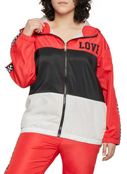 Plus Size Checkered Trim Love Windbreaker - 1850063401567