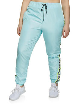Plus Size Checkered Trim Windbreaker Joggers - 1850063401568