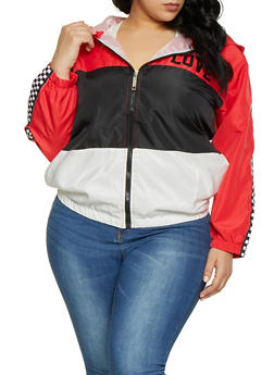 Plus Size Love Checkered Tape Color Block Windbreaker - 1850063401569