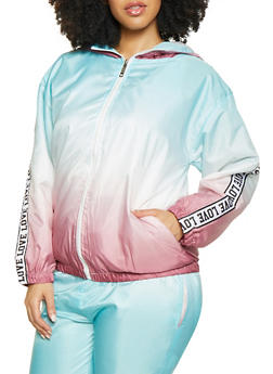Plus Size Ombre Love Tape Windbreaker Jacket | 1850063401660 - 1850063401660