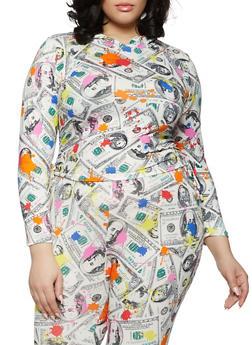 Plus Size Money Printed Long Sleeve Top - 1850074010001