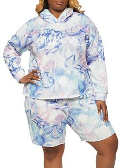 Plus Size Graffiti Print Hooded Sweatshirt - 1850075171305