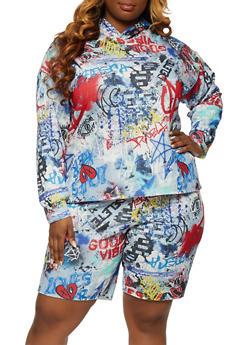 Plus Size Graffiti Sweatshirt - 1850075175039