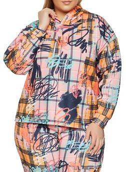 Plus Size Graffiti Plaid Print Hooded Sweatshirt - 1850075179305