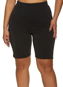 Plus Size Glitter Knit Bike Shorts - 1860020623459