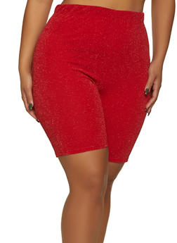 Plus Size Glitter Knit Bike Shorts - 1860020623459