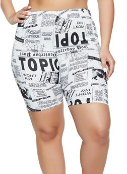 Plus Size Newspaper Print Scuba Bike Shorts - 1860020626334