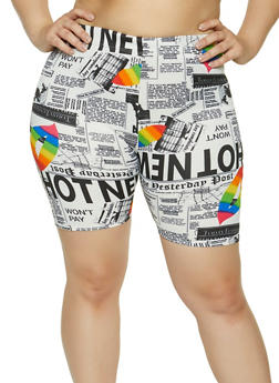 Plus Size Newspaper Print Bike Shorts - 1860020626336