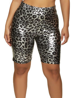Plus Size Metallic Cheetah Print Bike Shorts - 1860020626495