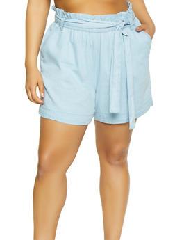 Plus Size Paper Bag Waist Chambray Shorts - 1860038340249