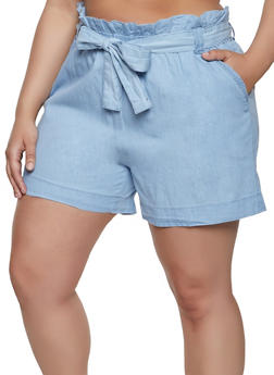 Plus Size Paper Bag Waist Chambray Shorts - 1860038340249