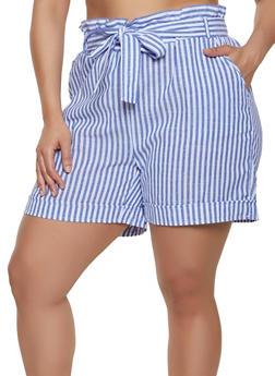 Plus Size Striped Linen Paper Bag Waist Shorts - 1860038340263