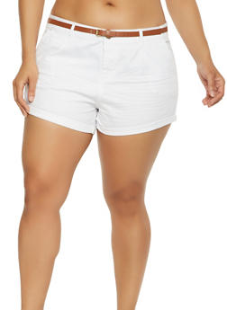Plus Size Belted Twill Shorts - 1860054260114