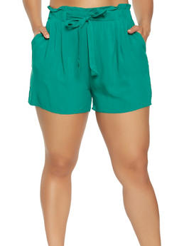 Plus Size Paper Bag Waist Shorts - 1860054260402