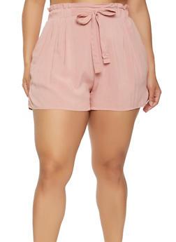 Plus Size Paper Bag Waist Shorts - 1860054260402