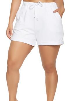 Plus Size Cuffed Shorts - 1860054260468