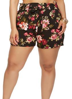 Plus Size Floral Tie Front Shorts - 1860054264461
