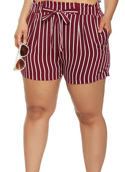 Plus Size Striped Paper Bag Waist Shorts - 1860054264462