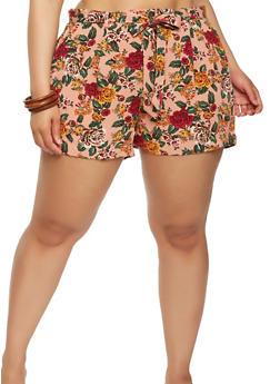 Plus Size Floral Tie Waist Shorts - 1860054264743