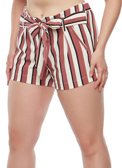 Plus Size Striped Tie Front Shorts - 1860056570001
