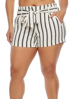 Plus Size Striped Tie Waist Shorts - 1860056570002