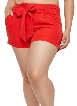 Plus Size Tie Front Shorts - 1860056570012