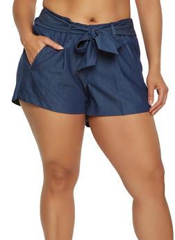 Plus Size Tie Front Shorts - 1860056570212