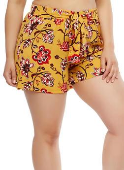 Plus Size Printed Crepe Knit Shorts - MUSTARD - 1860056576218