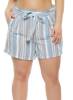 Plus Size Striped Linen Shorts - 1860060582319