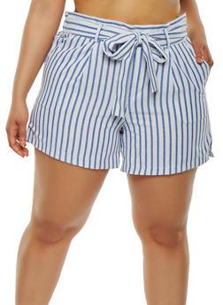 Plus Size Striped Linen Shorts - 1860060582324