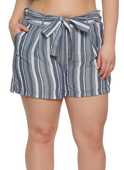 Plus Size Striped Tie Front Shorts - 1860060582440