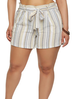 Plus Size Striped Linen Shorts - 1860060582450